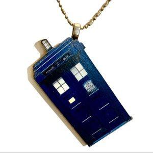 Jewelry - Blue Police Box Time Machine Necklace Pendant